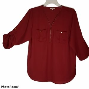 Classic brick two pocket plus size 3x women blouse